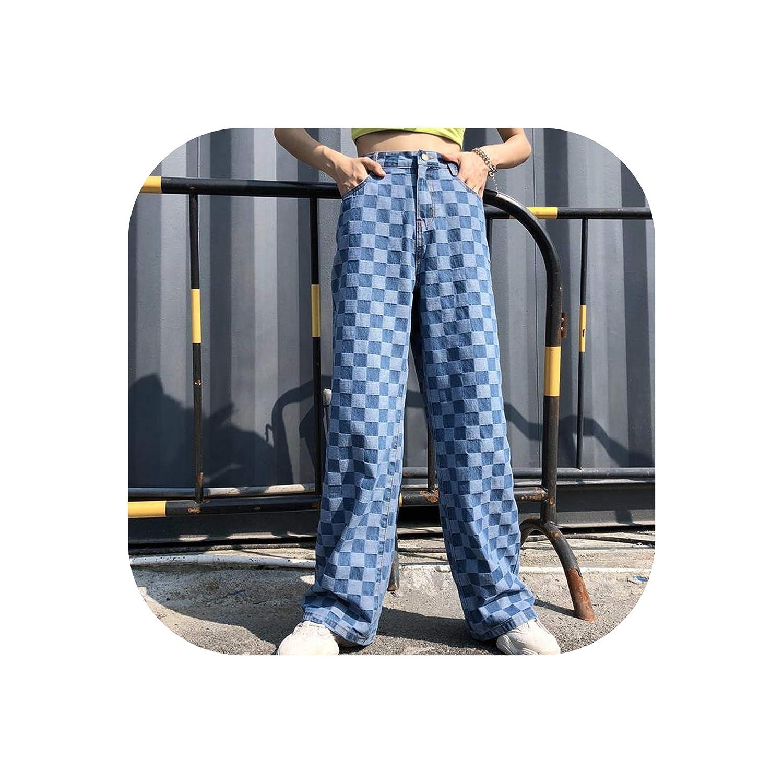bluee Pants Unisex Pants Plaid Pattern Loose Long Women Pants Outwear bluee Spring,