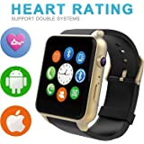 ALNES GT88 Waterproof 1.54 inch Touch Screen Wrist Smart Watch IP57 NFC Bluetooth Connectivity Sports Activity with Heart Rate Monitor Magnetic Charging Health Exercise Fitness Tracker (Gold)