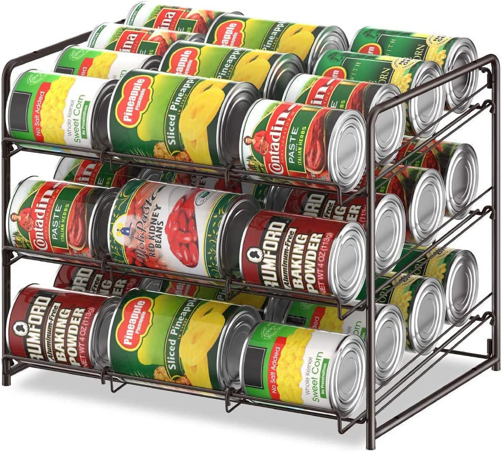 Can Organizer Stackable Can Storage Dispenser Rack 3 Tier Holds up 36 Cans Rotates First in First Out for Kitchen Cabinet or Pantry, Brown