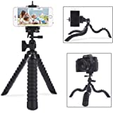 Cell Phone Tripod, 12-Inch Mini Flexible iPhone Tripod for ALL Small Cameras with Quick Release Plate/Bubble Level+Cell Phone Tripod Mount