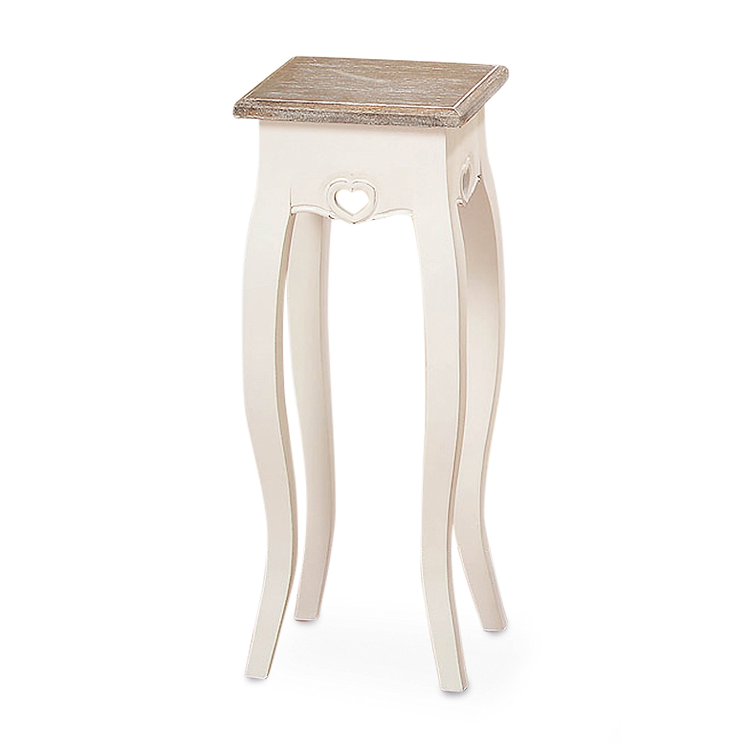 The French Country Style Pedestal Table, Shabby Chic Distressed Finish, White, Wood, Dark Top, Approx. 2 Ft Tall, (23 1/2 Inches) By Whole House Worlds