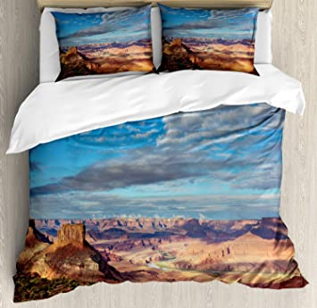 Landscape Duvet Cover Set, Canyonland National Parks Utah Valley Cloudy  Blue Sky Redrock Butes Photo Scenery, Decorative 3 Piece Bedding Set with 2  ...