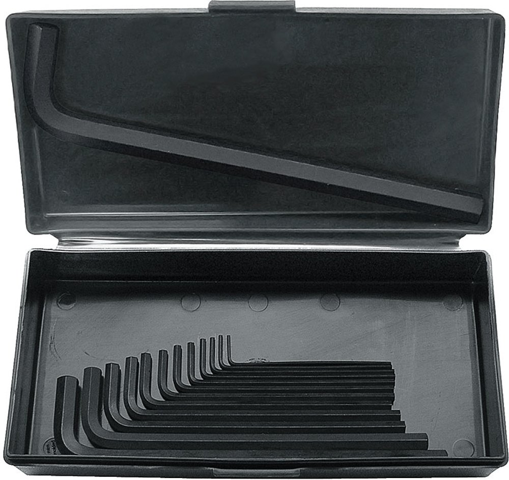 "Bondhus 12342 Hex Tip Key L Wrench Set with ProGuard Finish and Long Arm in Metal Box of Sizes 1/16-1/2"", 13 Piece"
