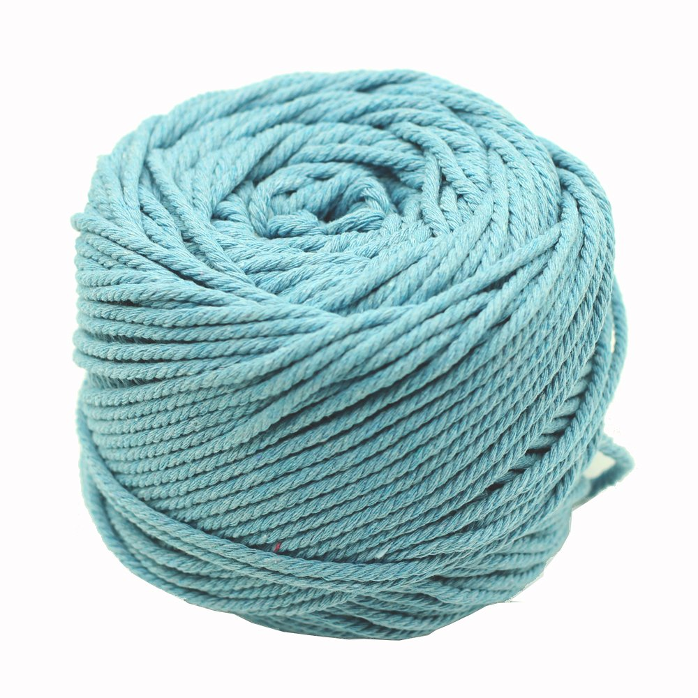 Black Red Green Colorful Natural Cotton Macrame Wall Hanging Plant Hanger Craft Making Knitting Cord Rope 3mm Dia (3mm Lake Blue)