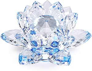 OwnMy Sparkle Crystal Lotus Flower Hue Reflection Feng Shui Home Decor with Gift Box (4 Inch/ 100MM Blue)