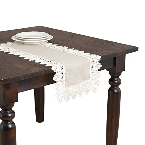 Saro Lifestyle 9212 Venetto Oblong Table Runner 16 By 36 Inch Taupe