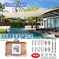 Belvery Sun Shade Sail Arc Rectangle Shade Net 5m×4m With Fixing Pole Rope Hooks Accessory Hardware Set Outdoor UV Blockage Commercial and Residential Sand Color