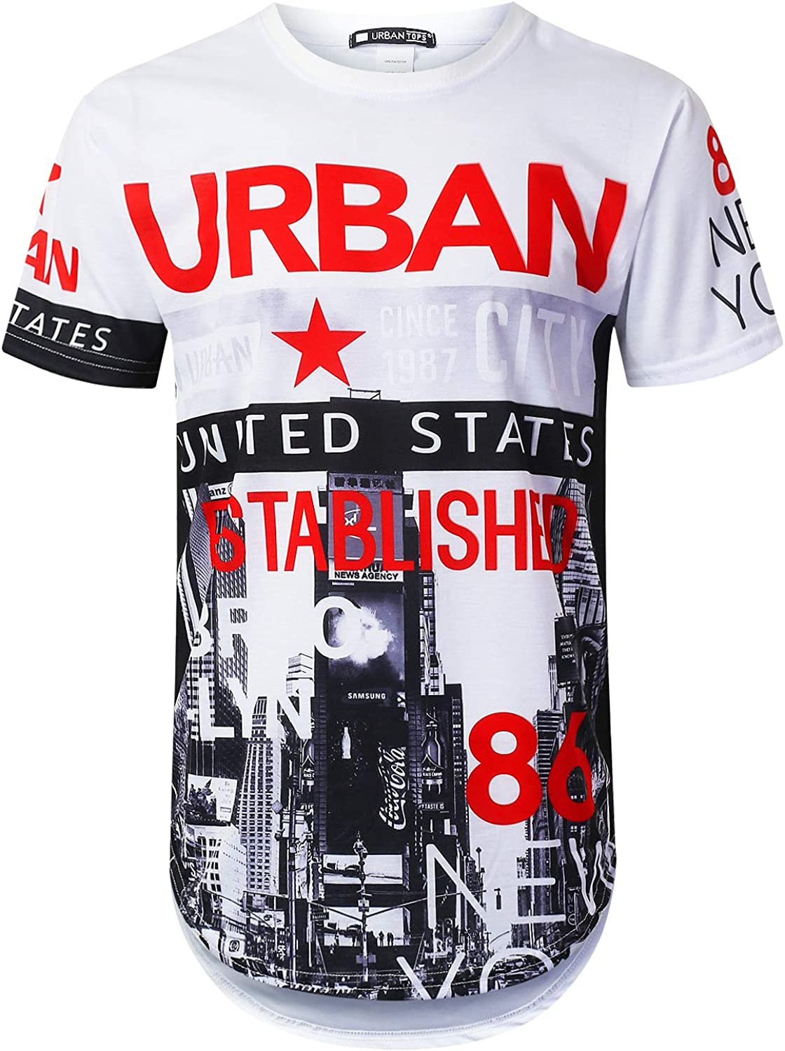 URBANTOPS Mens Hipster Hip Hop City Graphic Longline T-Shirt (Various Styles)