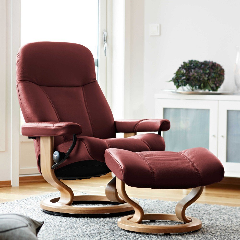 Stressless Consul M Relax sillón con taburete Burgundy ...