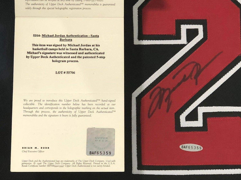 6fb59cab923 MICHAEL JORDAN SIGNED & FRAMED CHICAGO BULLS BLACK JERSEY UDA COA AUTOGRAPH  23 at Amazon's Entertainment Collectibles Store