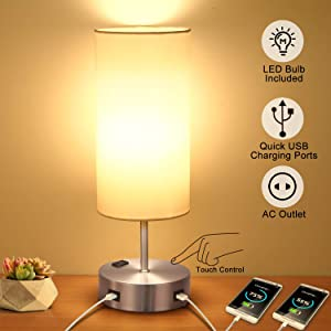Touch Table Lamps Bedside with USB Fast Charging Port, 3-Way Dimmable Nightstand Lamps for Bedroom, Dual AC Outlet and E26 60W Edison Bulbs Included, Perfect for Living Room Office Reading