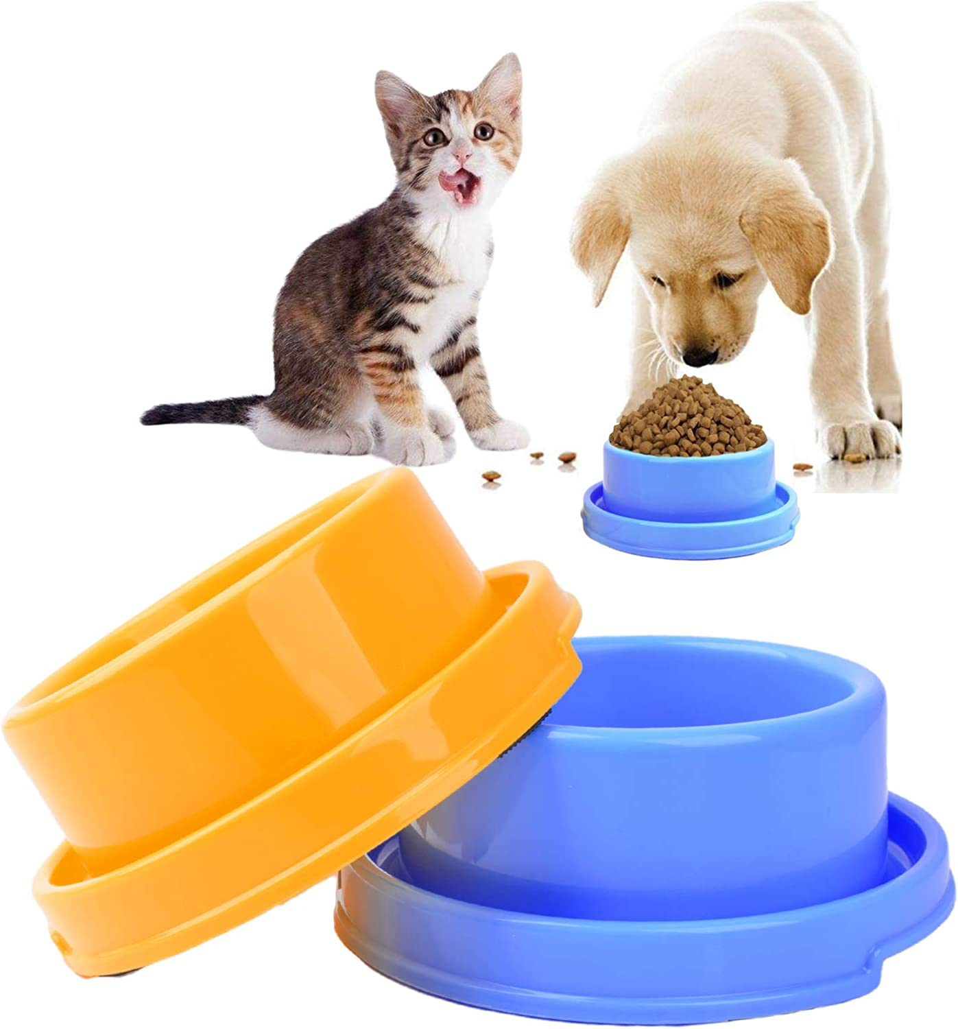 2pcs Dog Bowls Pet Cat Puppy Food Bowls Plastic Round No Spill Water Food Feeder Dish Colorful Feeding Eating Bowls