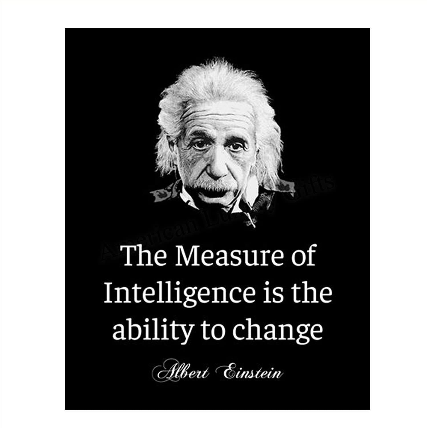 """Albert Einstein Quotes Wall Art- """"The Measure of Intelligence""""- 8 x 10"""" Typographic Wall Print- Ready to Frame. Home-Office-Studio Decor. Perfect Classroom Addition for Inspiration & Motivation."""