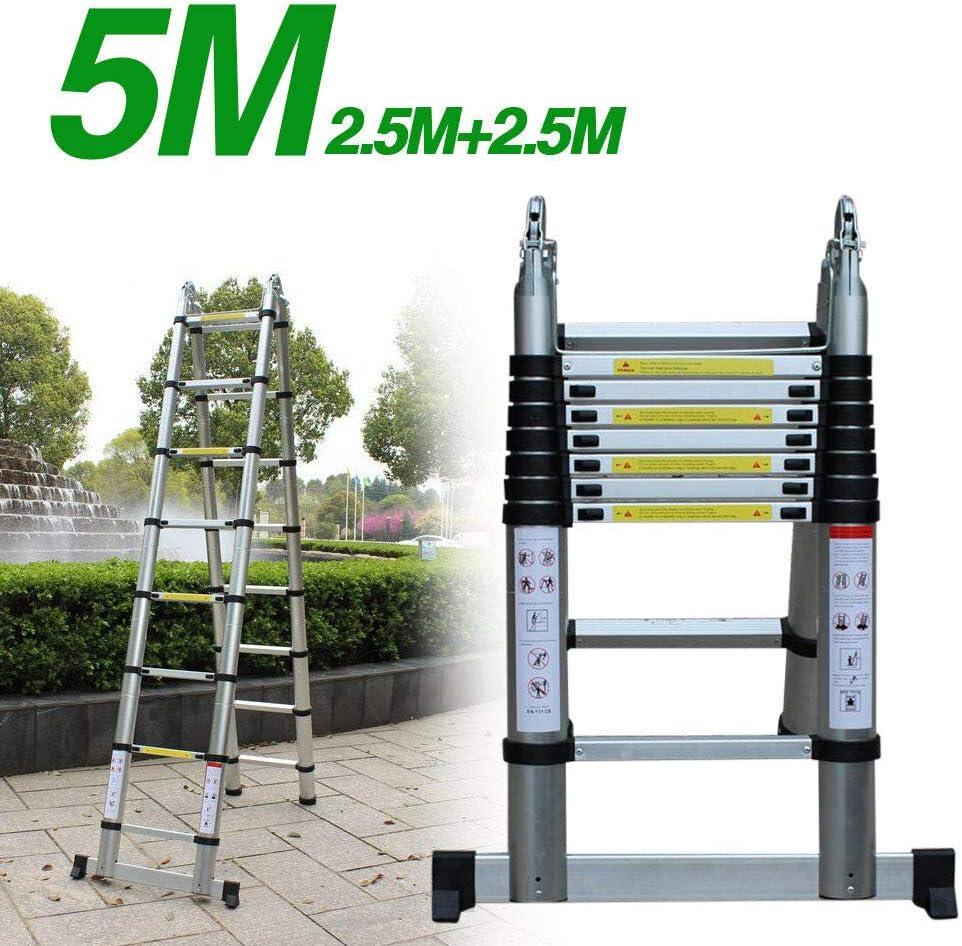 Ladder Escalera telesc/ópica 5 m, aluminio de alta calidad, antideslizante, bricolaje, plegable, extensible, /única derecha, multifunci/ón