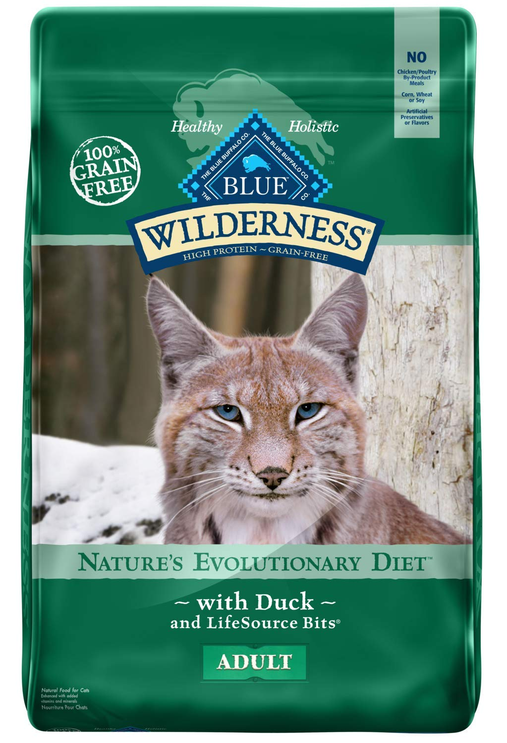 11 lb bluee Buffalo Wilderness High Predein Grain Free, Natural Adult Dry Cat Food, Duck 11-Lb