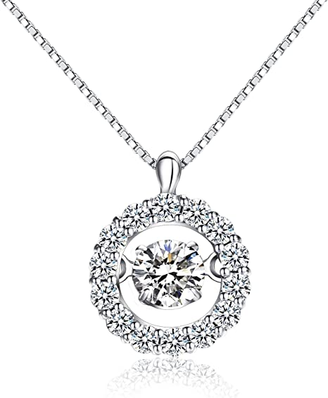 925 Sterling Silver /& Simulated Diamond CZ/'s March Birthstone Birthday Gift for Woman Wife Girlfriend Her Aqua Blue CZ Halo Pendant
