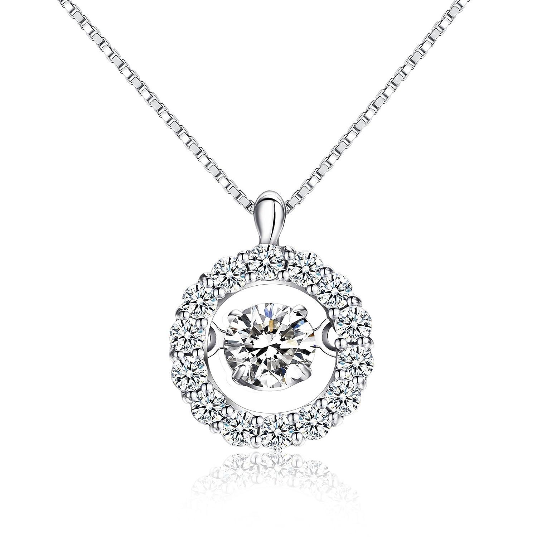 Sterling silver Dancing Cubic zirconia Pendant Necklace