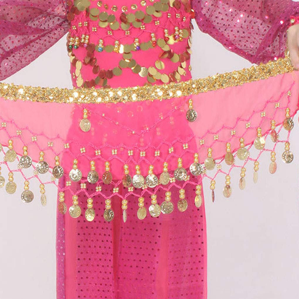 Sciarpa da Danza in Chiffon a 2 Pezzi con Pancia araba e Cintura in Vita Blu Cdrox
