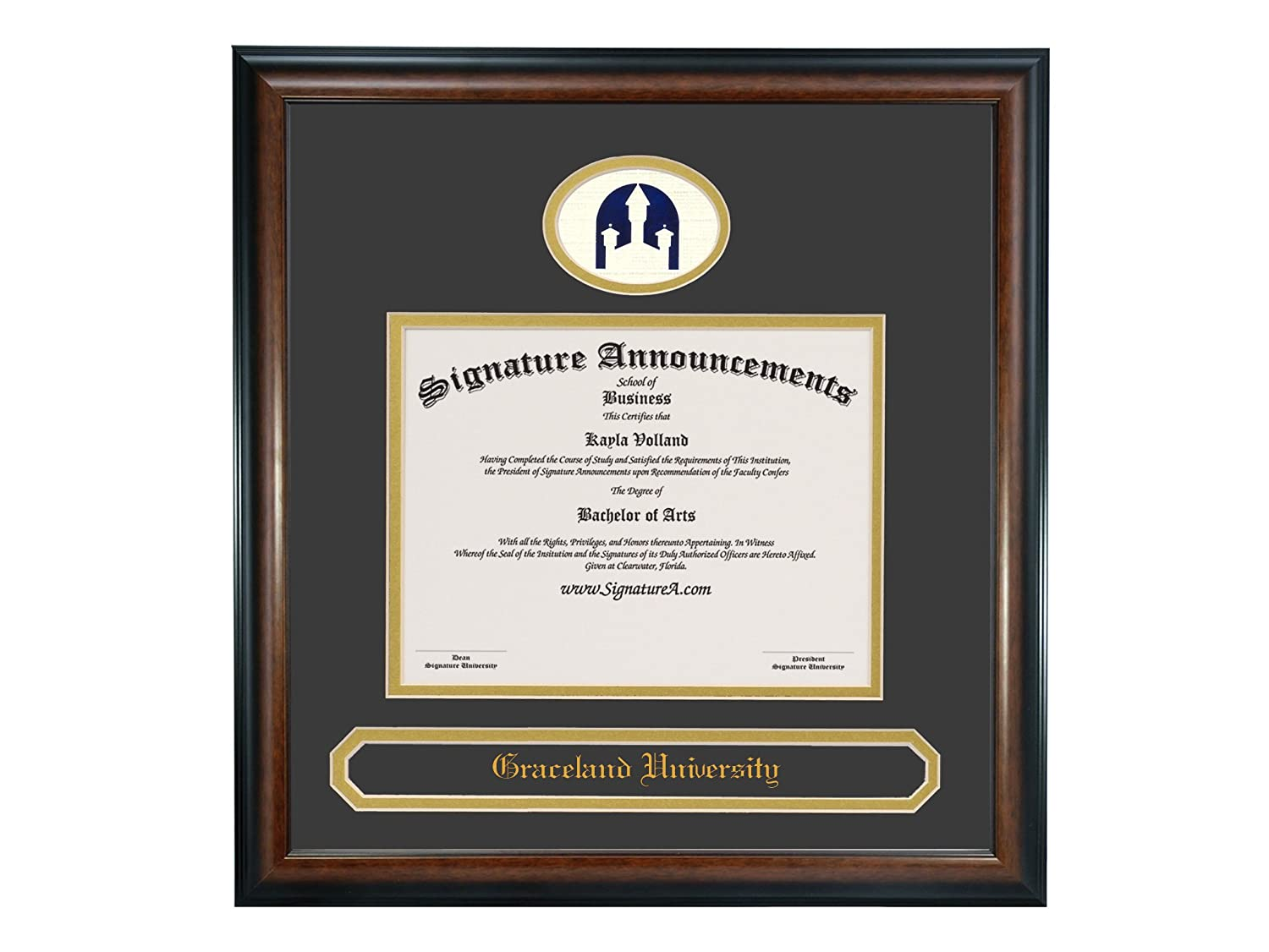 Signature Announcements Graceland-University Undergraduate Professional//Doctor Sculpted Foil Seal /& Name Graduation Diploma Frame 16 x 16 Matte Mahogany