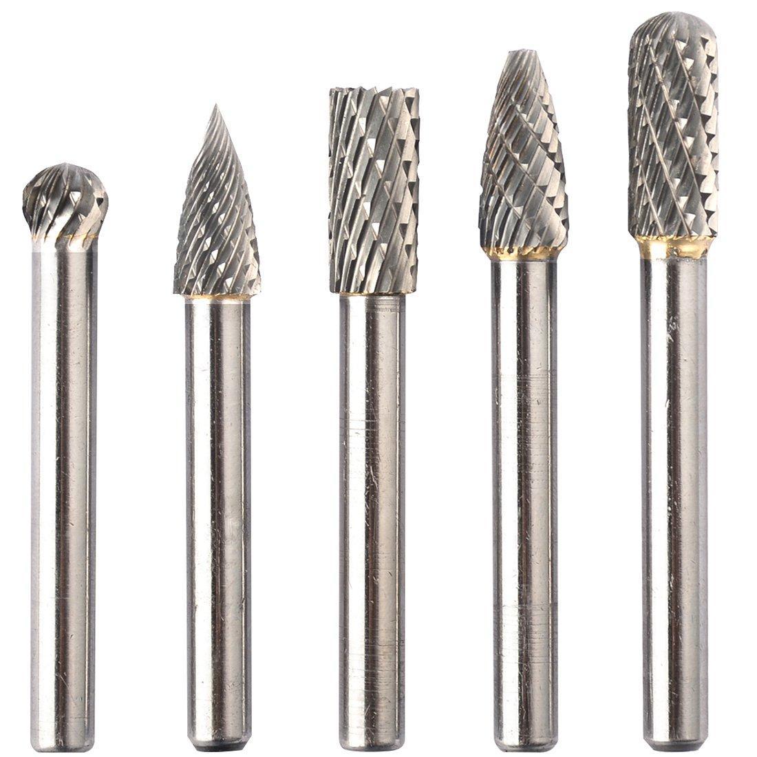 KOTVTM 5Pcs 8MM Head Tungsten Carbide Rotary Burr Set Die Grinder Bit 1/4-Inch Shank Grinder Drill Rotary Burrs Cutting Burs Metal Polishing