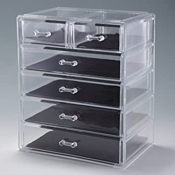 Amazoncom LAZYMOON Acrylic Cosmetics Case Storage Display Box