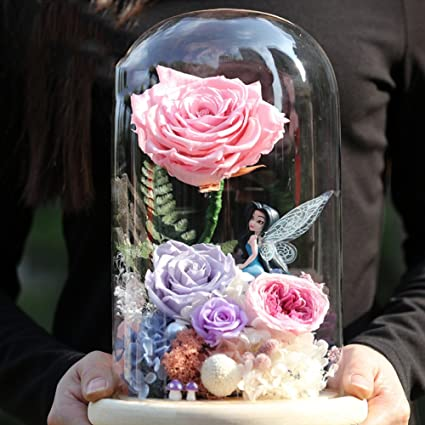 4929228da408 Amazon.com  Eternal Flower Giant Glass Box Colorful Dried Flowers Of Roses   Creative Birthday Gift-E  Home   Kitchen
