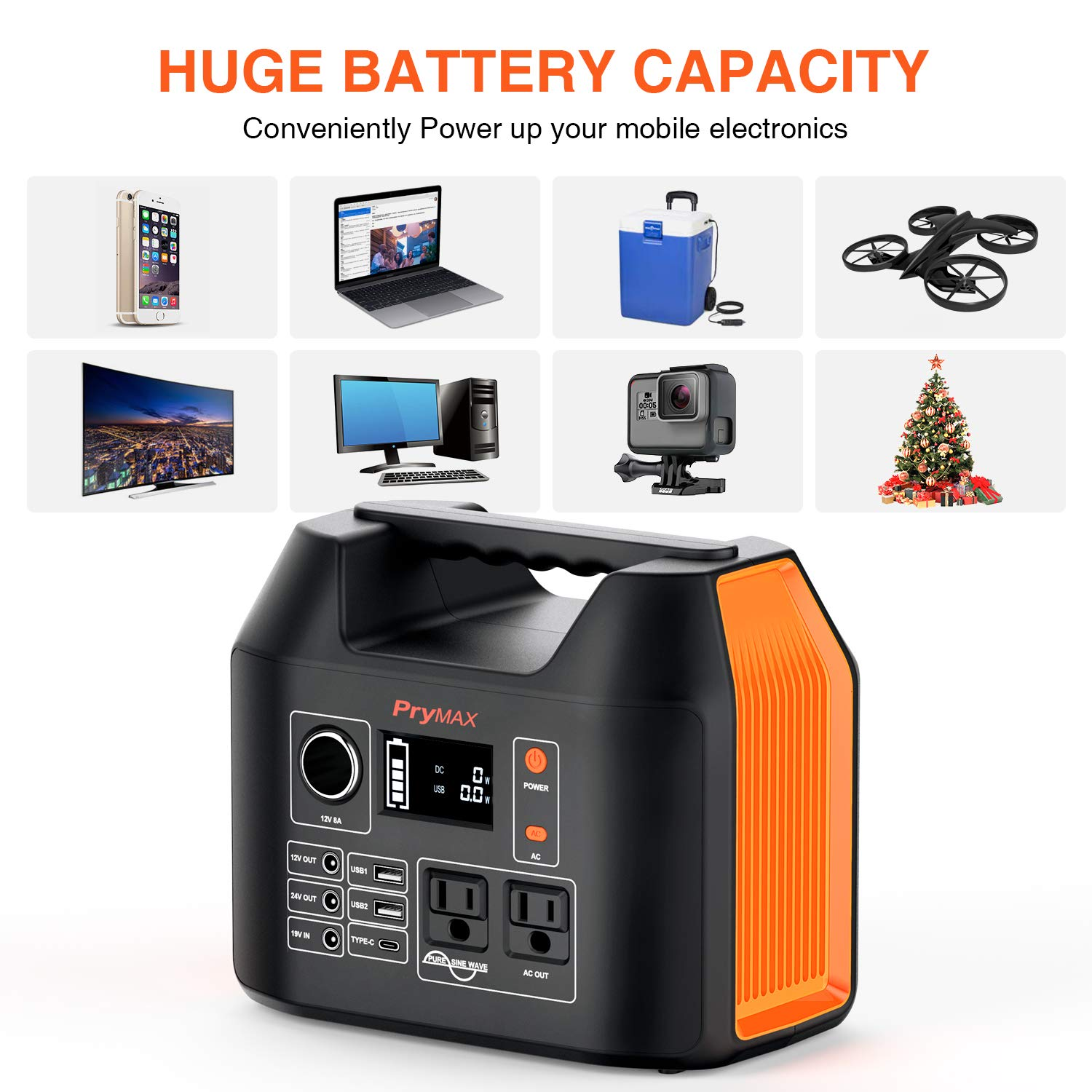 PRYMAX Portable Power Station, 300W Solar Generator 2019 Updated 298Wh CPAP Backup Battery Pack with LED Flashlight,110V 300W Pure Sine Wave,AC Outlet, QC3.0 USB,for Outdoors Camping Travel Emergency