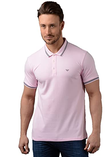 6e415bf09d Emporio Armani Polo - Mens 8N1F2B-1JPTZ Tipped Polo Shirt In Pink