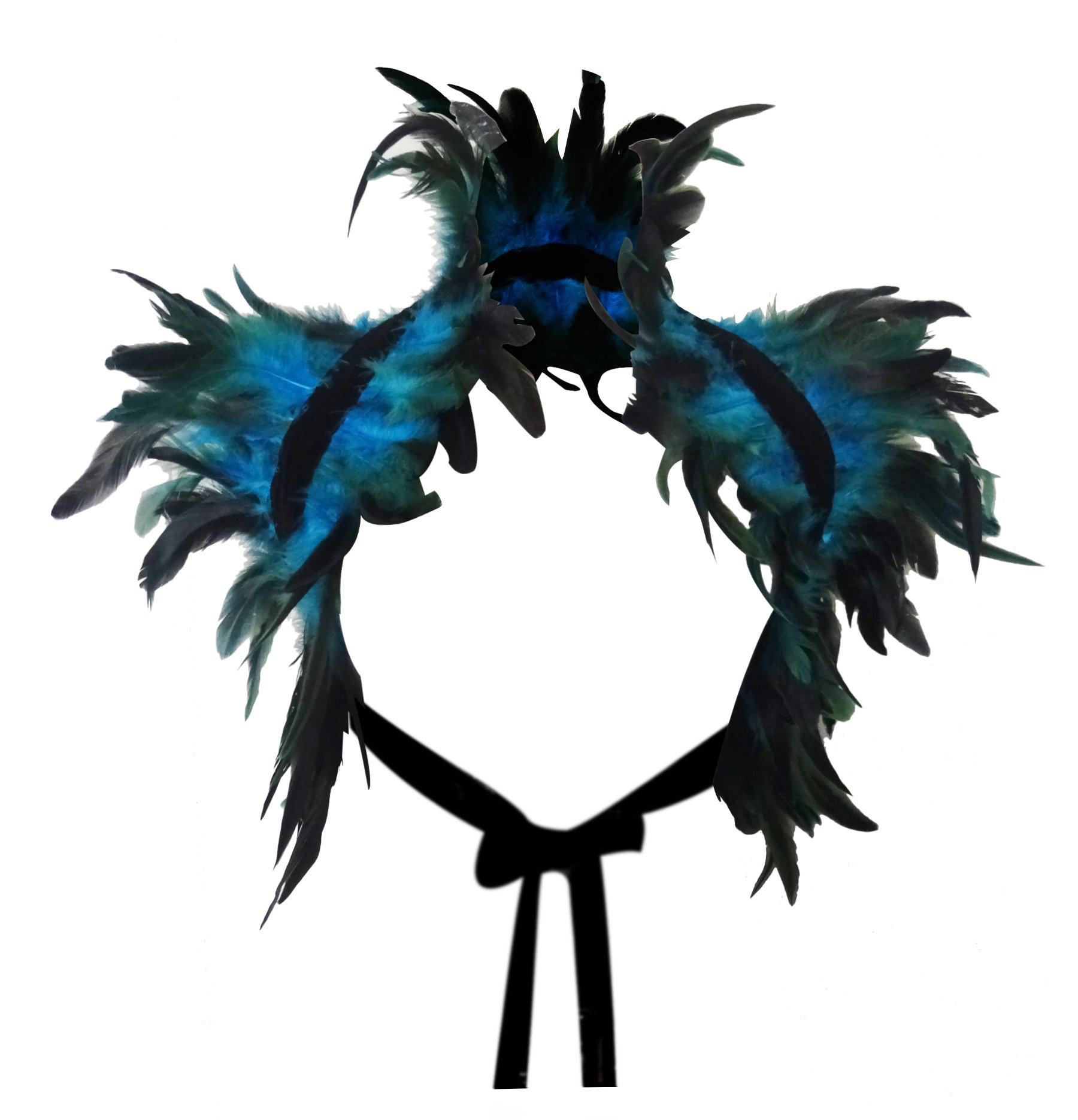 L'vow Victorian Real Natural Feather Shrug Shawl Shoulder Wrap Cape Gothic Collar (Blue)