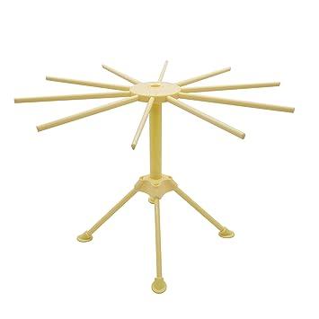 Anzirose Secador de Pasta Plegable Soporte Secador de Secado Pasta Drying Rack con 10 Brazos 16cm -Amarillo: Amazon.es: Hogar