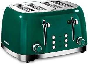 REDMOND 4 Slice Toaster Retro Stainless Steel Toasters with Bagel Defrost Cancel Function, 6 Browning Settings, Green, ST033