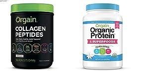 Orgain Grass Fed Hydrolyzed Collagen Peptides Protein Powder - Paleo & Keto Friendly, Amino Acid Supplement, Pasture Raised, 1 Pound & Organic Plant Based Protein + Superfoods Powder, 2.02 lb