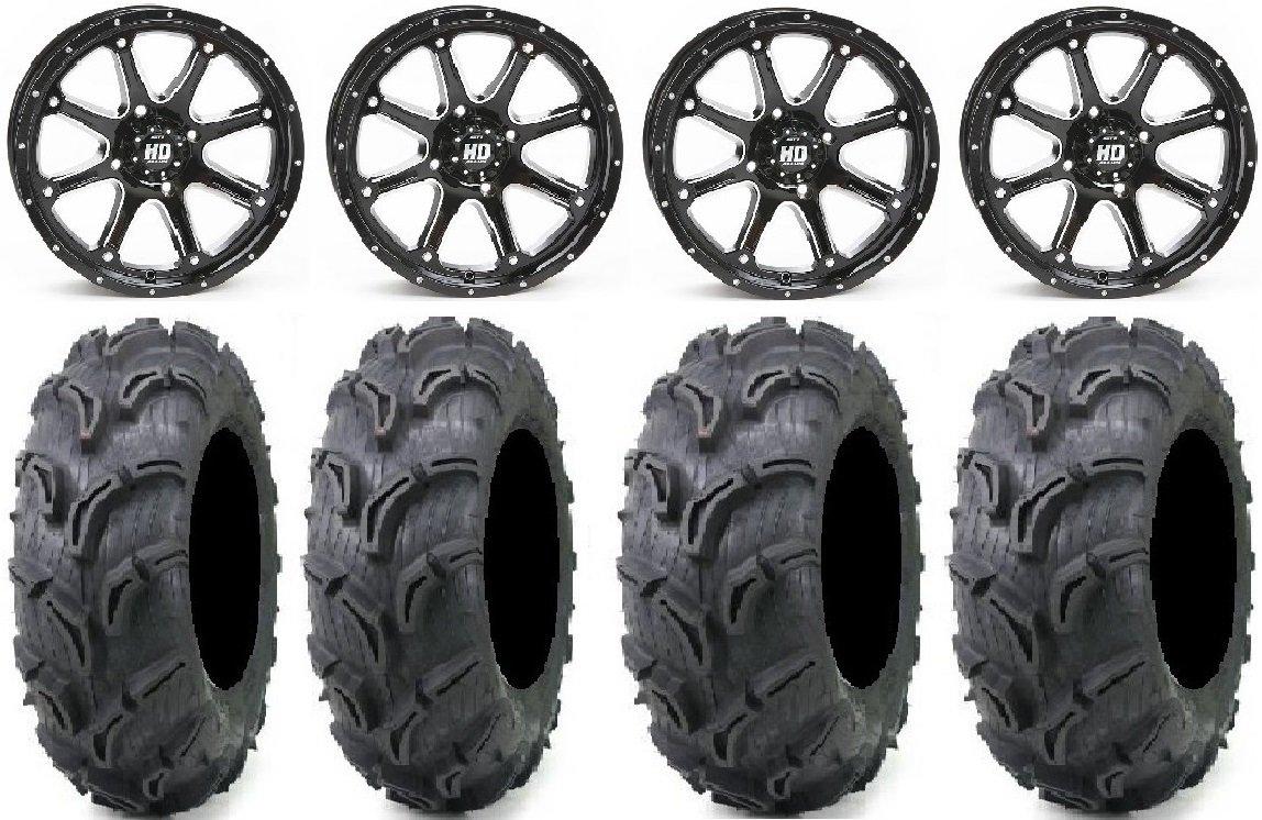 Bundle - 9 Items: STI HD4 12'' Wheels Black 25'' Zilla Tires [4x110 Bolt Pattern 10mmx1.25 Lug Kit]
