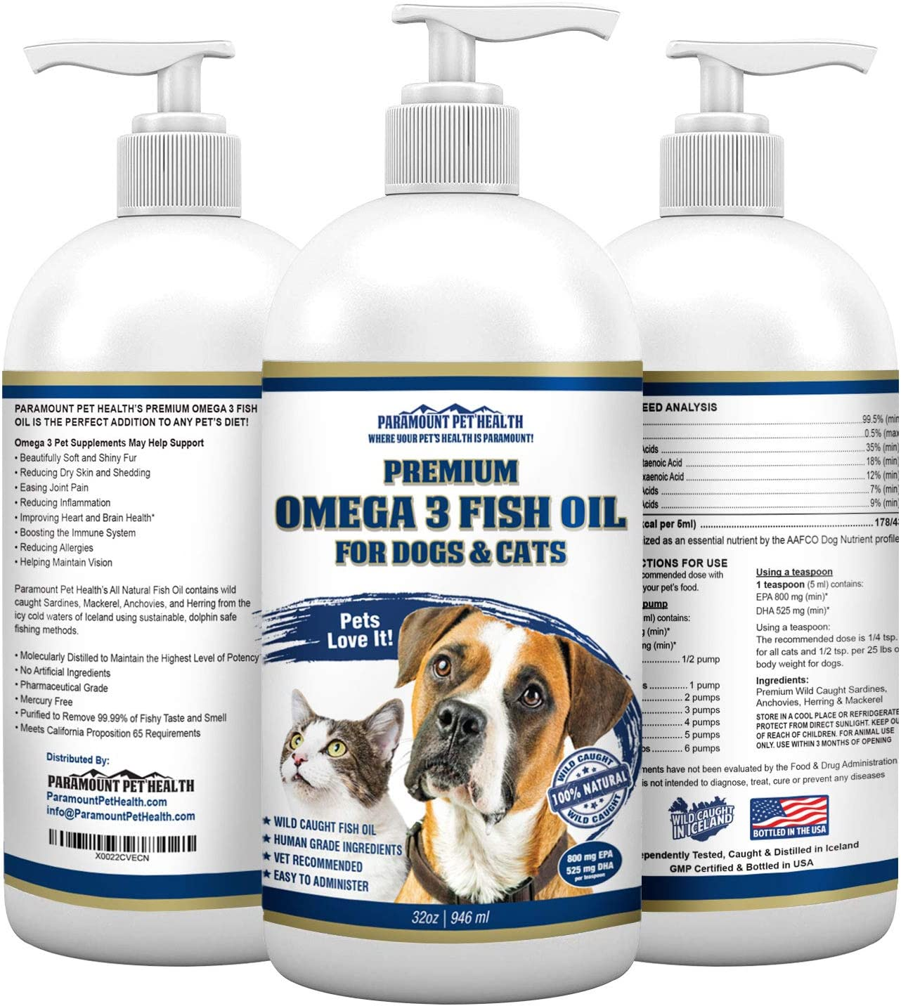 Paramount Pet Health 100 Natural Fish Oil for Dogs – Omega 3 for Dogs – Dog Fish Oil Dog Omega 3 Supplement USA Made – Dog Shedding Supplements – Pure Fish Oil for Dogs Liquid