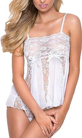 2bd09df8fc523 Charmnight Women Babydoll Lingerie Set Sexy Lace Nightwear White Sleepwear(White-XXL):  Amazon.co.uk: Clothing