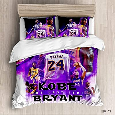 Vampsky Los Angeles Lakers Kobe Bryant Teenagers Idol Household Bedding 3 Piece Set with Zipper Closure, 100% Microfiber Football Star 3D Print 1 Duvet Cover 2 Pillow Shams Christmas Bedding: Home & Kitchen