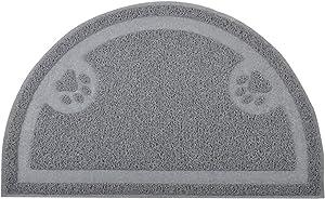 DM Cat Paw Print Litter Box Mat,Door Mat, Kitty Litter Rug,Half Circle,23.5x14.25 Inches