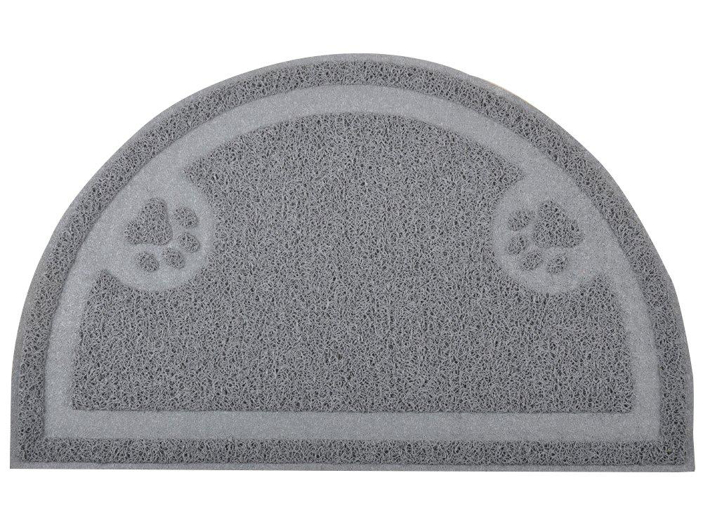 DM Cat Pet Paw Litter Box Door Mat, Half Circle, Kitty Litter Rug, 23.514.25 Inches (Gray)