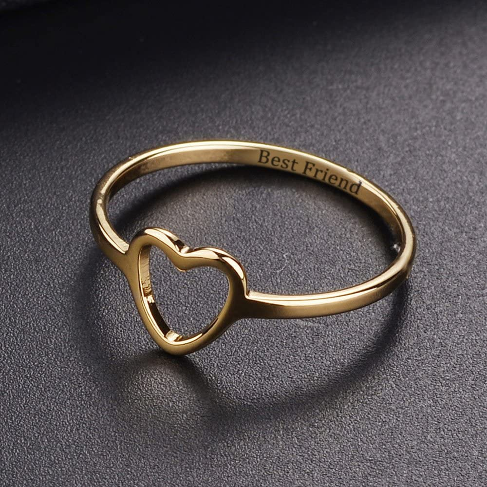 Keepfit Fashion Simple Best Friends Ring Hollow Love Heart Friendship Letter Rings