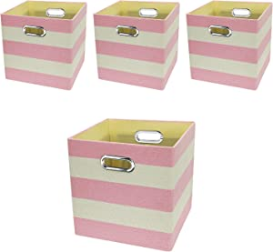 Posprica Storage Bins Storage Cubes,11×11 Collapsible Storage Boxes Containers Organizer Baskets for Nursery,Office,Closet,Shelf - 4pcs,Pink-White Striped