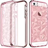 BENTOBEN iPhone SE Case, iPhone 5 5S Case, Crystal Clear Scratch Resistance Shockproof Slim 2 in 1 Hybrid TPU PC Bumper 3D Diamond Visual Protective Phone Case For iPhone SE 5S 5, Rose Gold