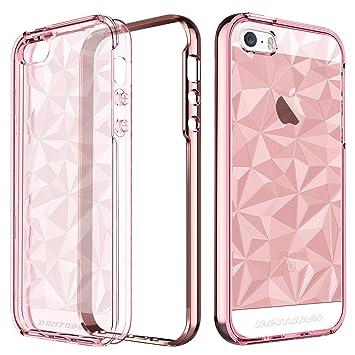BENTOBEN Funda iPhone SE, Funda iPhone 5s, Funda iPhone 5, Transparente Carcasa Case Cover con TPU Suave + PC Dura Anti-rasguños 3D Modelo Geométrico ...