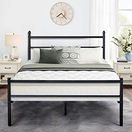 Queen Bed Frame.Vecelo Reinforced Metal Bed Frame Queen Size Platform Mattress Foundation Box Spring Replacement With Headboard Footboard