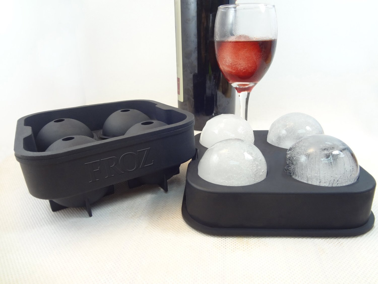 Froz Ice Ball Maker Novelty Food-Grade Silicone Ice Mold Tray With 4 X 4.5cm Ball Capacity