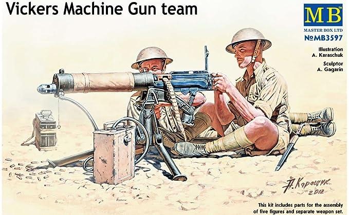Master Box WWII Vickers Machine Gun Team (4) with Gun Figure Model Building  Kits (1:35 Scale)
