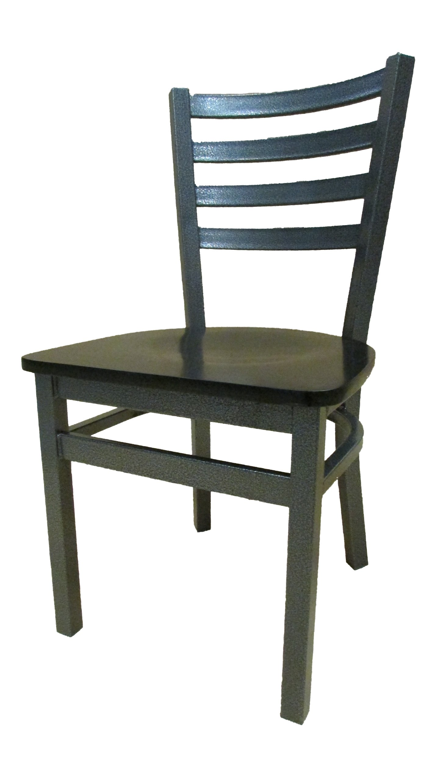 Oak Street Manufacturing SL2160SV-WB Metal Frame Silvervein Ladderback Dining Chair with Black Wood Seat, 18'' Width x 32-3/8'' Height x 17'' Depth