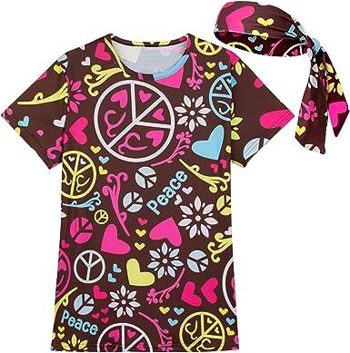 COSAVOROCK Mujer Disfraz de Hippie Flower Power Camiseta y Diadema