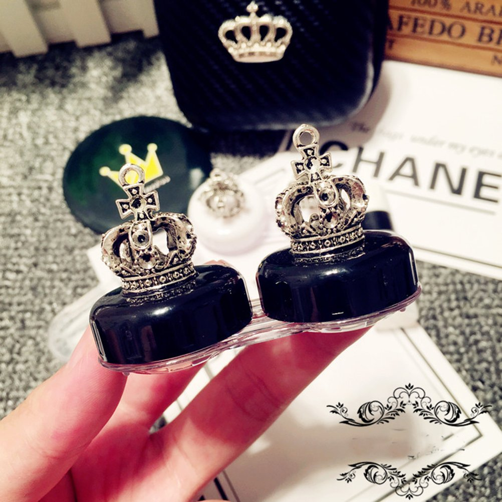 Mini Stylish Simple Contact Lens Hard Case Travel Kit with Mirror Bottle with Tweezers Container Holder-Cute Crown -White and Black with Stick-2 Pack by Oliver (Image #3)