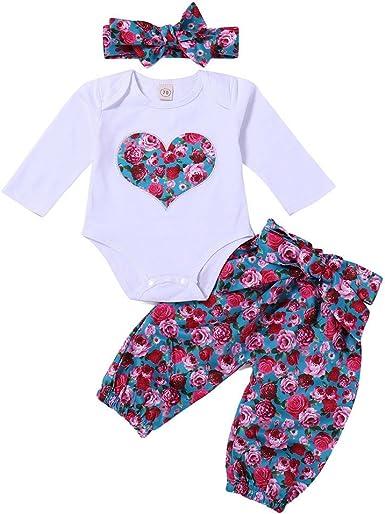 Ropa Bebe Ni/ña Oto/ño Invierno 0 a 3 6 12 18 24 Meses de Reci/én Nacido Florales Mono de Manga Larga 3PC// Conjuntos Diadema Pantalones