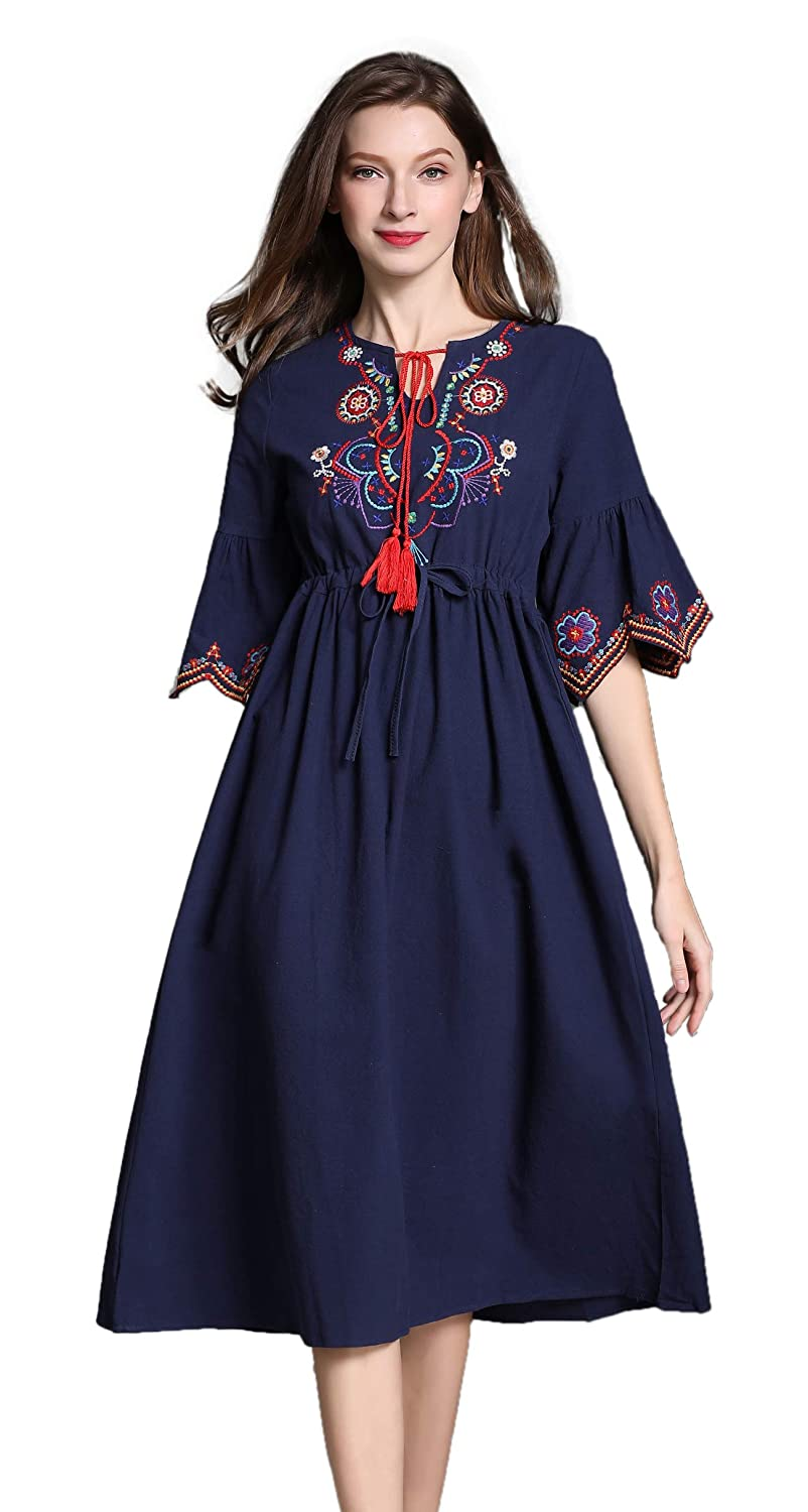 dded9e0cf79 Shineflow Womens Casual 3 4 Sleeve Floral Embroidered Mexican Peasant  Dressy Tops Blouses Shirt Dress Tunic at Amazon Women s Clothing store